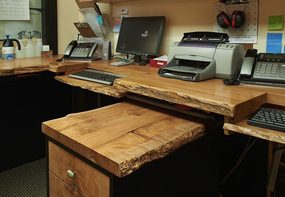 Natural wood computer desk