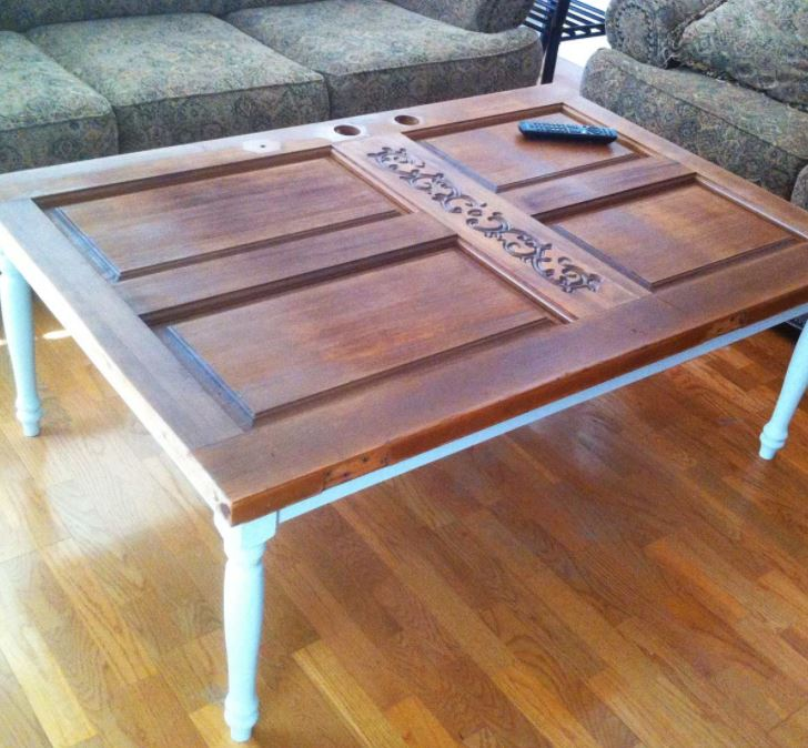 A home made coffee table made from up-cycled door